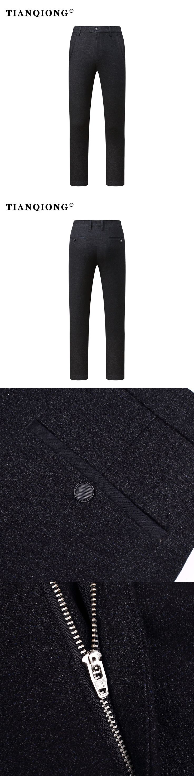 TIANQIONG Classic New Men's Micro Elastic Casual Pants Mens Business Dress Slim fit Stretch Long Trouser Male Black High Quality