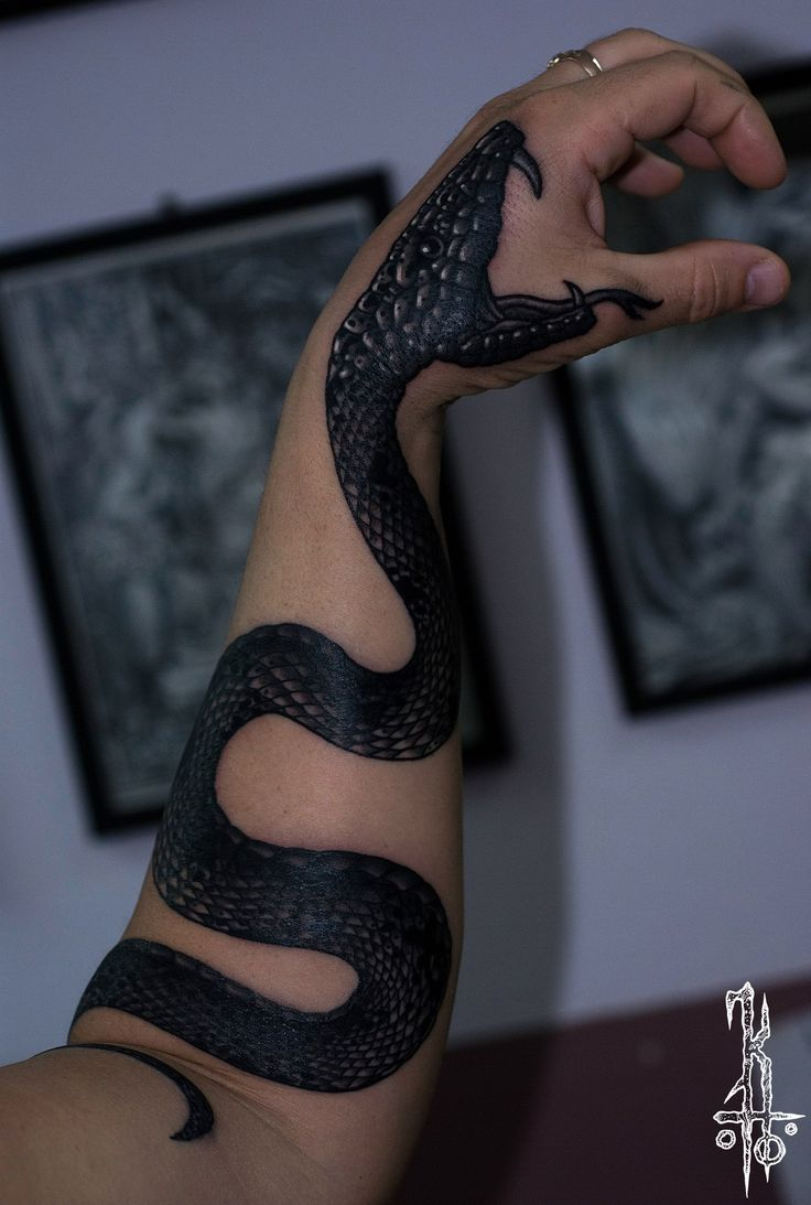 Snake tattoo on hand black and grey by Konstantin YaD
