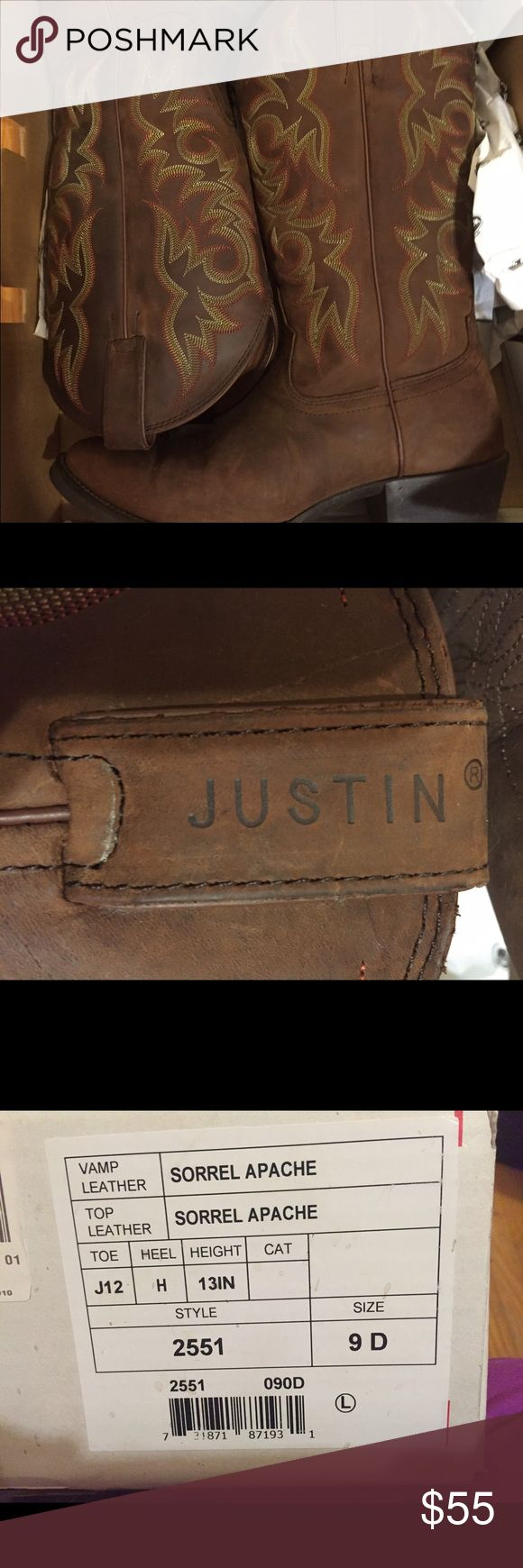 Justin Boots size 9 Mens Worn once ..still in the box. Justin boots for men size 9. New price is $160...great deal on these boots. These are round toe  boots Justin Boots Shoes Cowboy & Western Boots