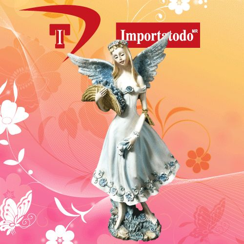 Figura decorativa Hada elaborada en poliresina marca TRENTINO. Modelo 45-644