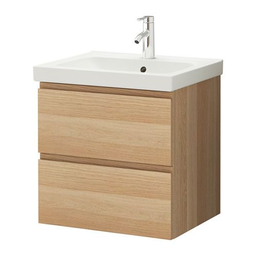 GODMORGON / ODENSVIK Waschbeckenschrank/2 Schubl. - Eicheneffekt weiß lasiert - IKEA