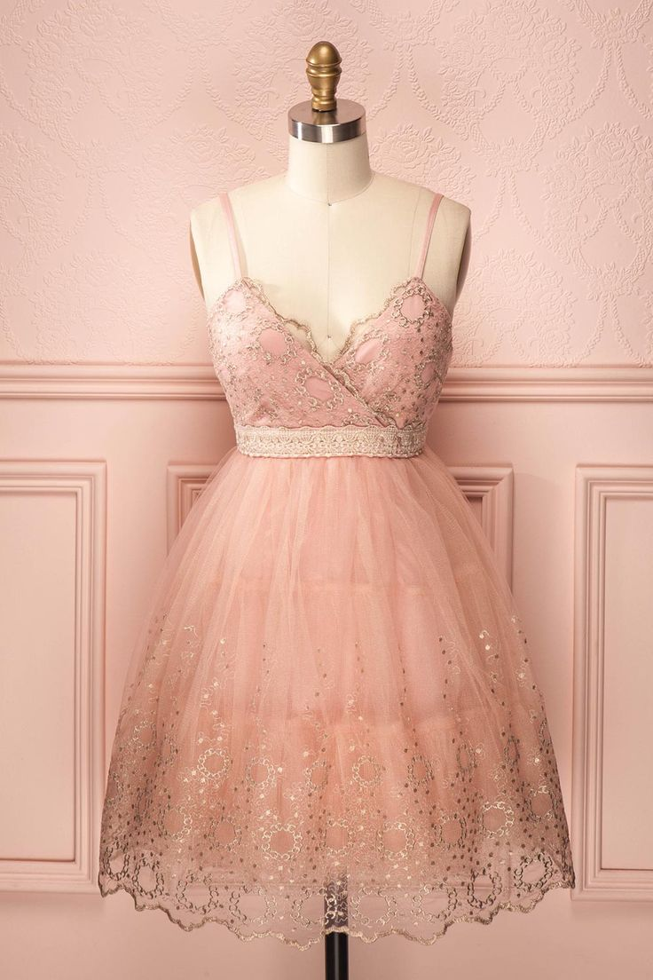 Light pink tulle dress with golden lace trim
