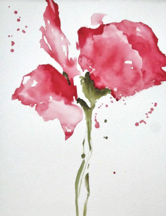 Floral Watercolor Painting Flower Print Red By NancyKnightArt 1500