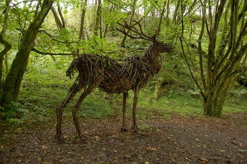 Deer sculpture on Animal Puzzle Trail Garwnat