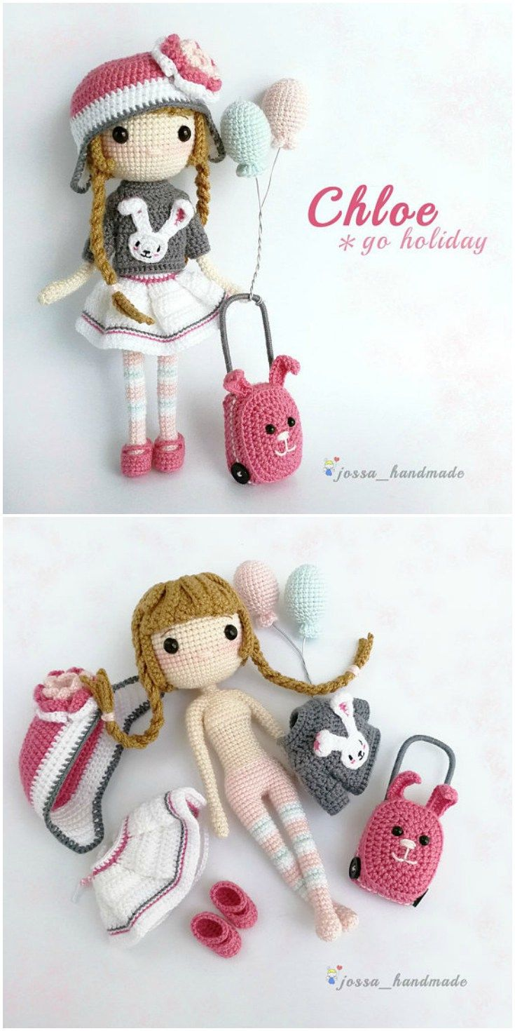 Love this sweet travelling doll crochet amigurumi pattern! She would make a grea…