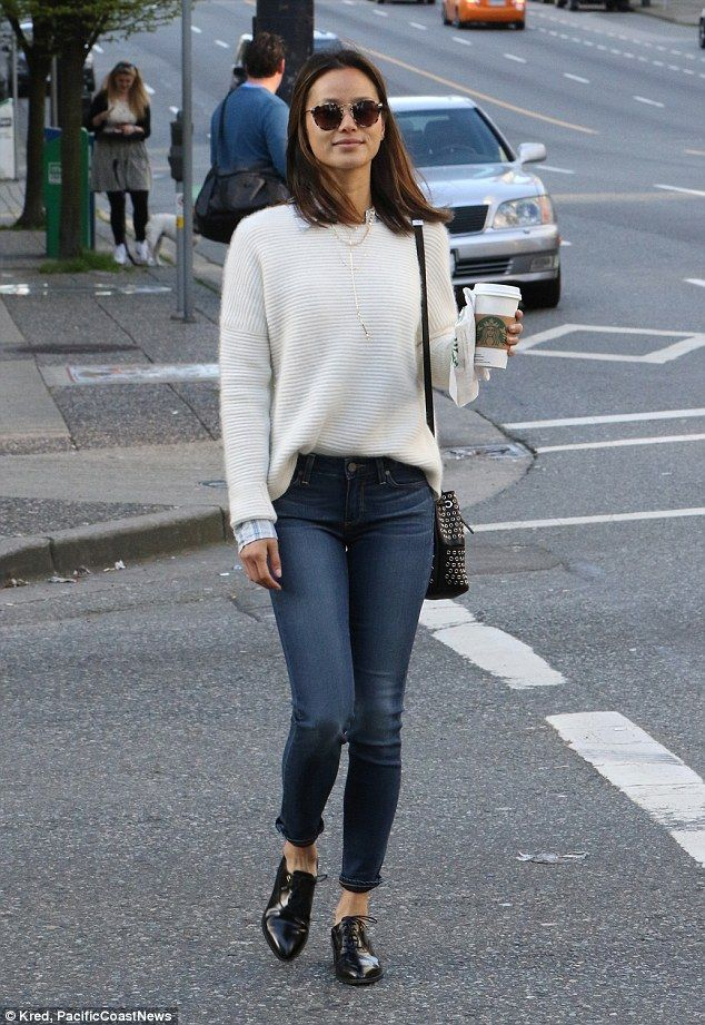 Jamie Chung looks preppy in sweater and jeans combo