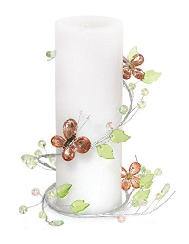 """Pack of 6 Peachy Pink Faux Jeweled Butterfly and Flower Pillar Candle Rings 4"""""""
