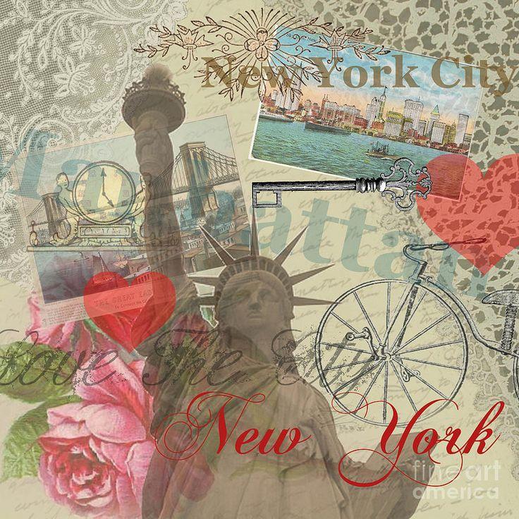 Vintage New York City Collage Digital Art  - Vintage New York City Collage Fine Art Print