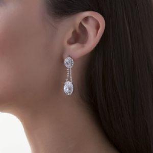 Newbridge Silverware Jewellery Maureen O'Hara Drop Earrings Clear Stone