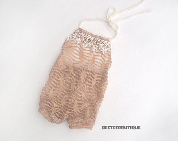 Nude  Halter Backless Romper Lace  Stretchy  by BeeTeeBoutique