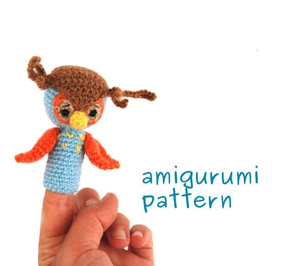 $3.52 #Crochet #pattern #owl, owl #finger #puppet #pattern, #amigurumi #owl #tutorial, #make a #special #gift for #toddler, #how #to #crochet #owl #puppet, #owl #toy
