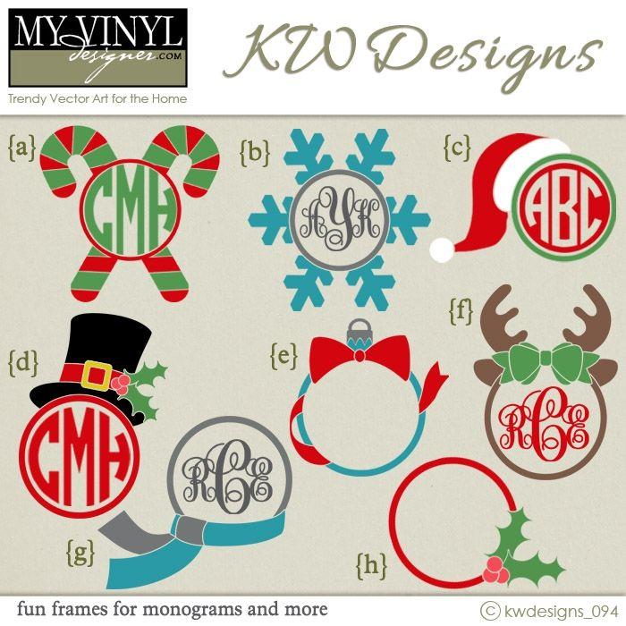 DIGITAL DOWNLOAD ... Christmas monogram frame vectors in AI, EPS, GSD, & SVG formats @ My Vinyl Designer #myvinyldesigner #kwdesigns