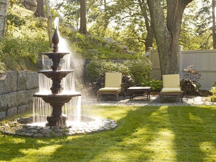 front yard fountains pond chairs table fence garden stone walls traditional design of Beautiful Front Yard Fountains to be Greatly Amazed By