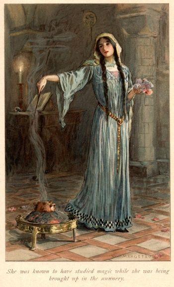 """""""She was known to have studied magic while she was being brought up in the nunnery..."""" (Morgan le Fay) Artwork by W. H. Margetson. From: Legends of King Arthur and His Knights - 1914"""