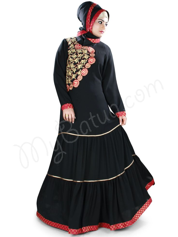 Stylish Angrakha Look Embroidered Party Wear Aamilah Abaya | MyBatua.com Style No : AY-407 Price : $63.00 Available Sizes XS to 7XL