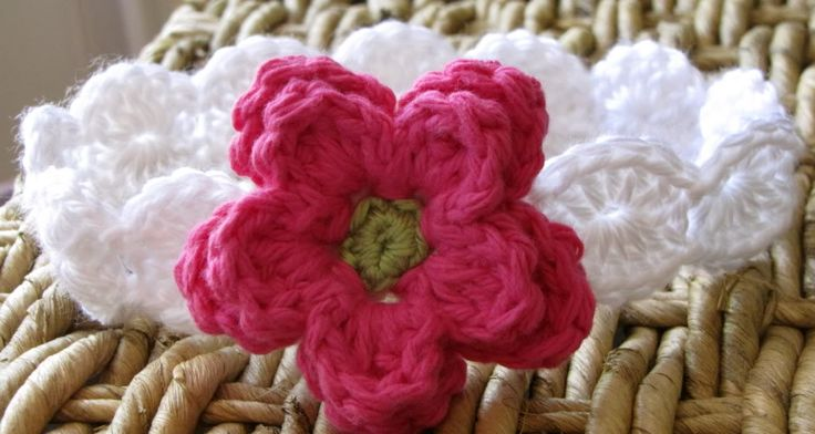 Double Layer Crocheted Flower Tutorial No. 2 Photobucket This tutorial is to make the flower you see attached to the headband. If you're interested in the headband pattern, please visit the Busy Mom Designs Etsy shop.