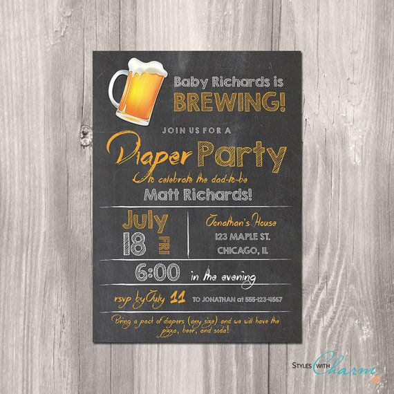 Diaper Party Invitation Beer and Diaper Party by StyleswithCharm