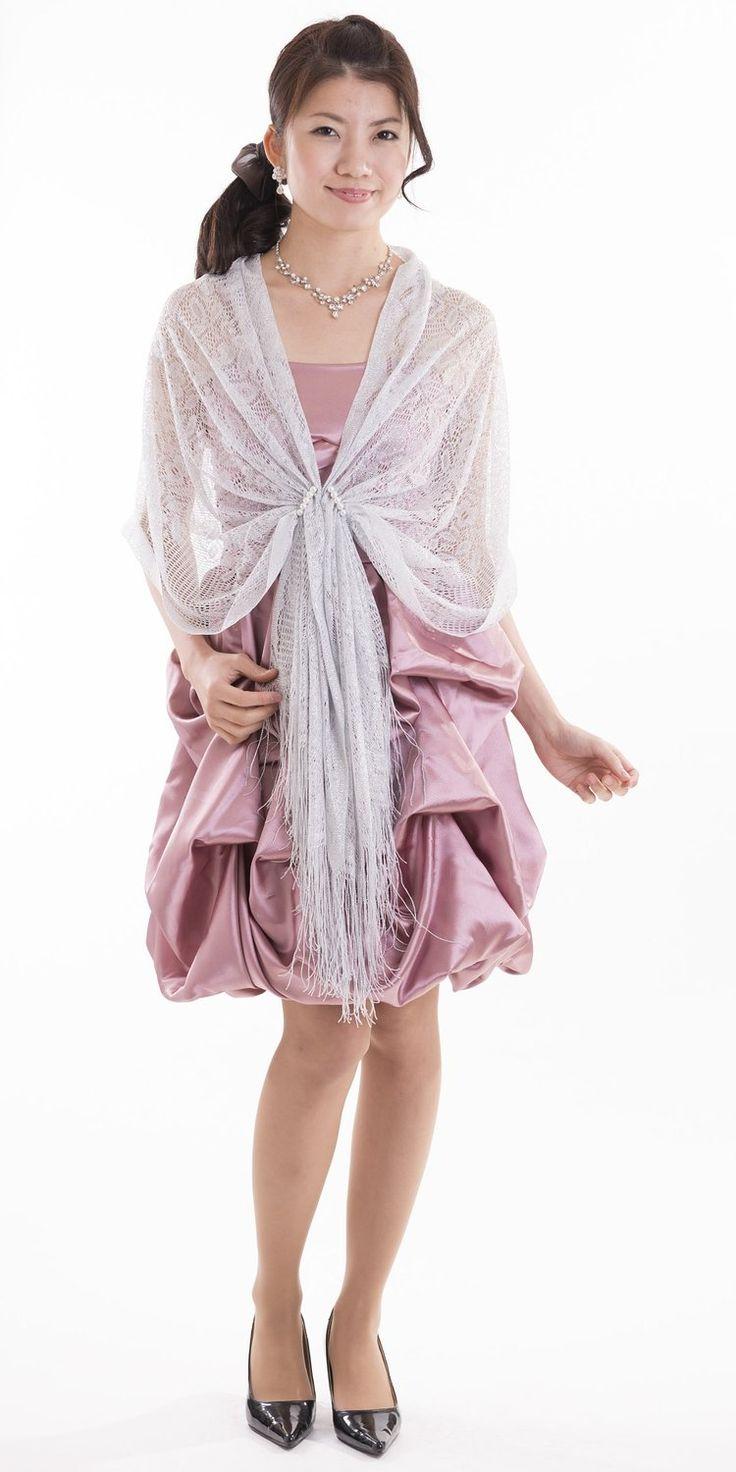 Amazon.co.jp: 日本製パールラメショール フラワー柄 ホワイトシルバー 結婚式 パーティ フォーマル: 服&ファッション小物通販