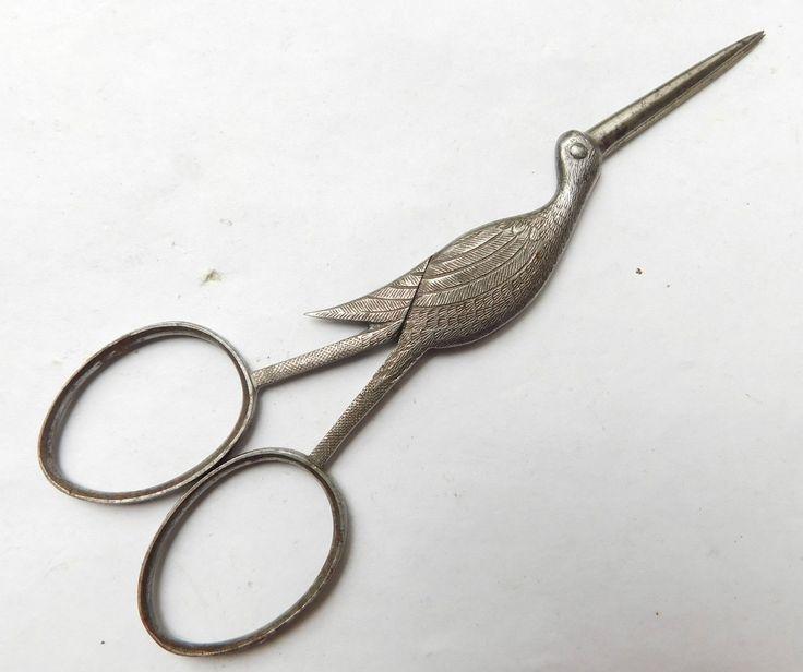 NO RESERVE EARLY Steel Stork Scissors Vintage Antique Sewing | eBay