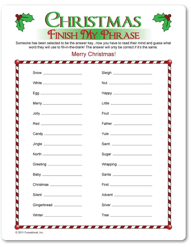 Printable Christmas Finish My Phrase - Funsational.com