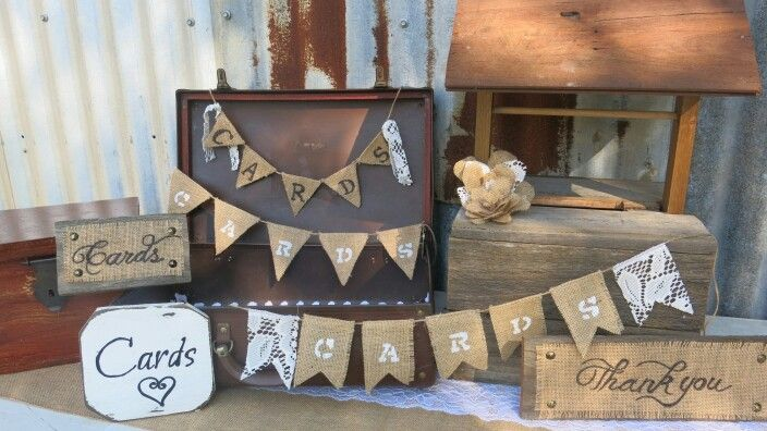 Hessian and lace bunting and card plaques for hire. Perfect in front of wishing wells, vintage suitcase or card boxes #queenstvintage #rusticweddingsigns #rusticprops #rusticwishingwell #rusticweddings #vintageweddings #vintageprops #vintagesigns #rusticsigns #bunting #hessianandlace #cardboxes #queenstvintage #rusticprops #rusticweddings #recycledtimber #prophiresydney #vintageideas #rusticsigns #rusticdrinkstations #rusticsweettables #vintageweddings #rusticwishingwells #timberweddingsigns…