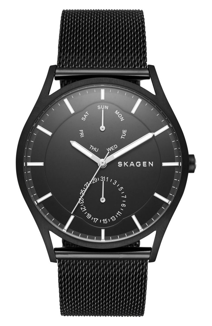 Two clean sundials flank the finely brushed dial of this sleek watch that can be picked up from the Nordstrom Anniversary Sale.