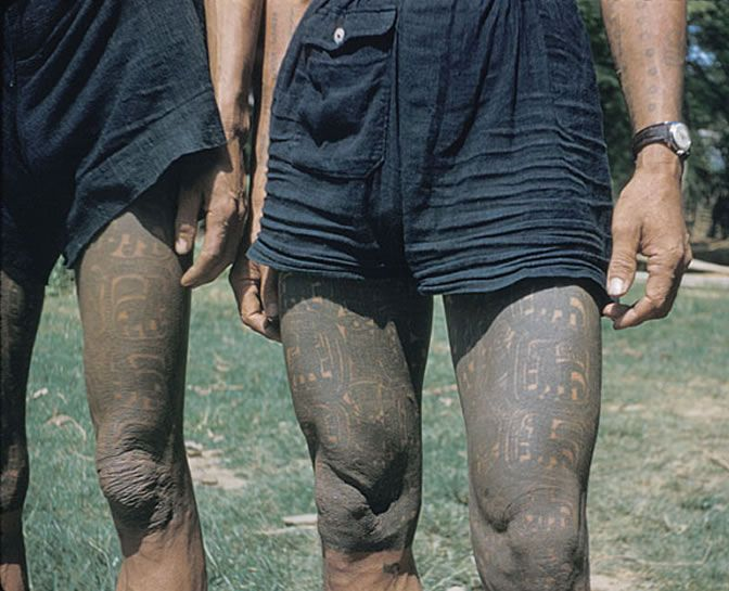Close up of two Laotian Kammu (Khmu') males leg tattoos. circa 1957 #VanishingTattoo #VintageTattoos #TattooHistory