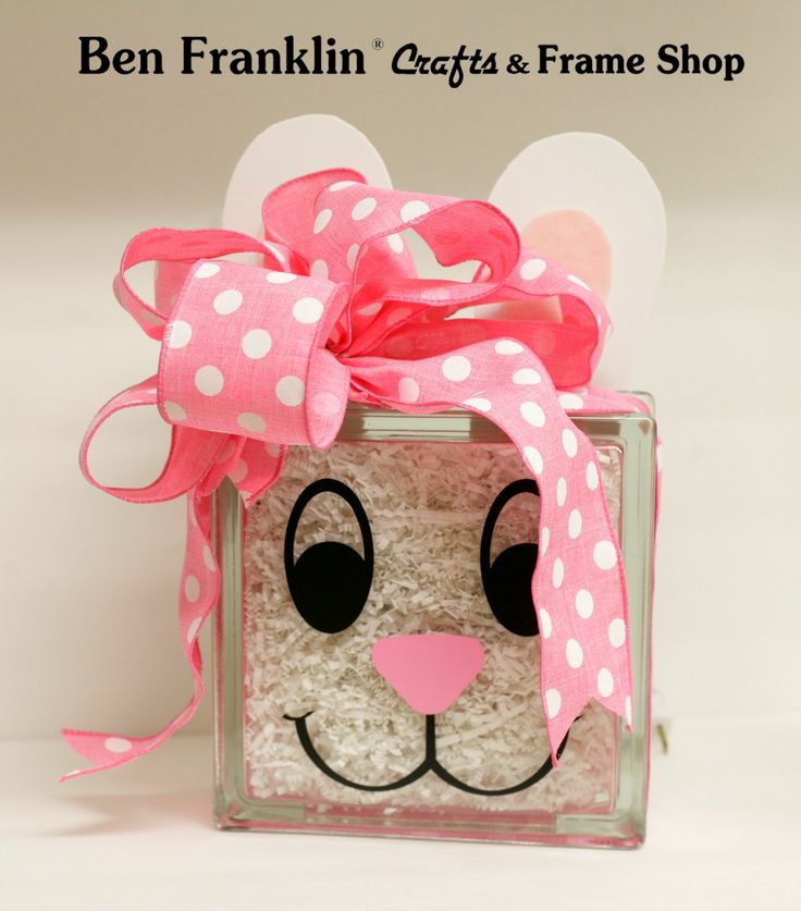 glass block crafts | Glass Block Bunny  Project by Ben Franklin Crafts & Frame Shop - Vinyl Supplied by Vinyl Words
