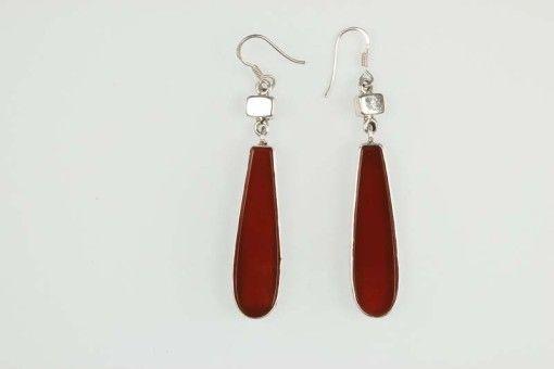 Earrings E00054 Silver 925° stone Cornelian