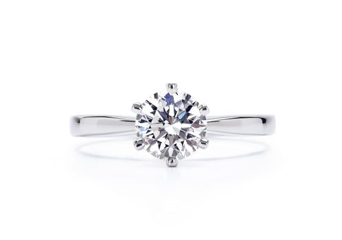 Love. 6 prong tapered 2mm 14k white gold band. 1ct., H, very good cut, vvs1-2.