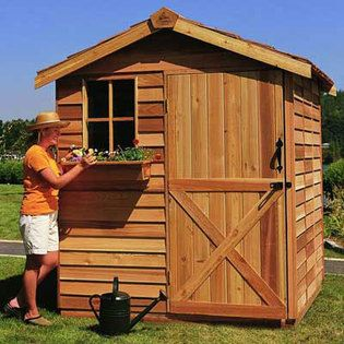 Cedarshed Cedar Shed Gardener Storage 8x12 Feet  Shed at Sears.com... would be a cute play and toy/bike storage for the yard. Later a potting shed, etc. Could easily use this plan using a shipping crate & pallets.