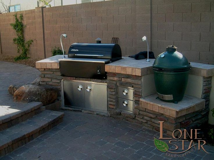 Built In Barbecue With Travertine Tile Countertop And Stone Veneer In Phoenix Az Www
