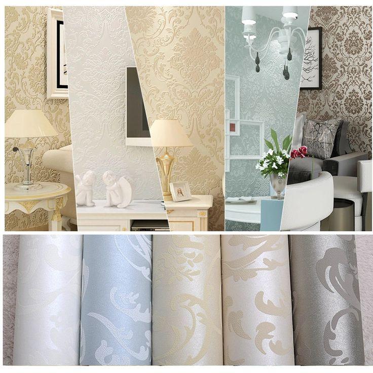 Luxury European Non woven Metallic Floral Damask Wallpaper Living Room Design Modern Vintage wall paper Textured Wallpaper Roll -in Wallpapers from Home & Garden on Aliexpress.com | Alibaba Group