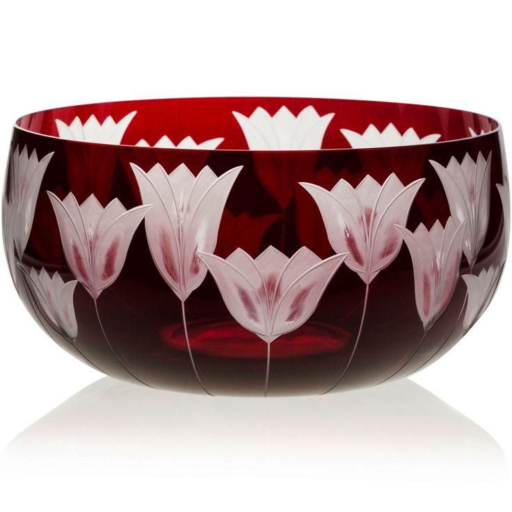 FRUIT BOWL    Handmade Glass Blown Fruit Bowl, Tulipa-Ruby 5090, height: 110 mm   widest diameter: 220 mm   Bohemian Crystal   Crystal Glass   Luxurious Glass   Hand Engraved   Original Gift for Everyone   clarescoglass.com