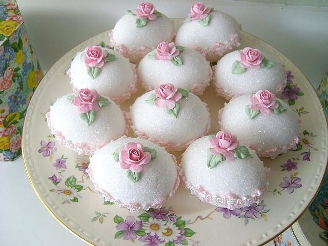 Pretty rose decorated Easter sugar eggs.