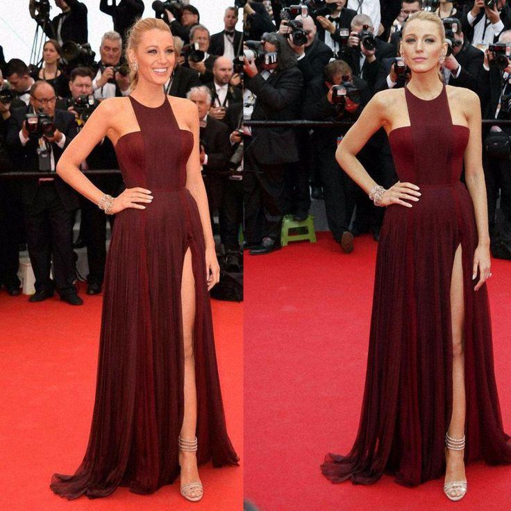 Blake Lively 2016 Long Burgundy Celebrity Dresses Red Carpet Dress Halter Chiffon Split Formal Evening Gown Vestidos De Festa