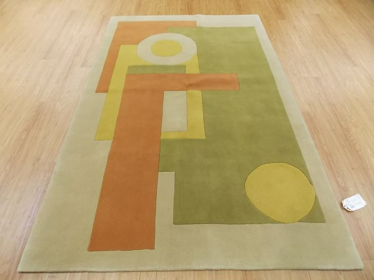 Orange And Green Area Rugs 5x8 Beige Green Orange Yellow Modern Hand