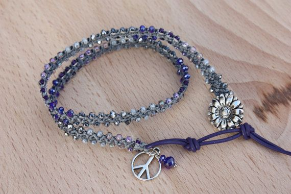 Large Gray and Purple Beaded Turkish Crochet  by MonroeJewelry