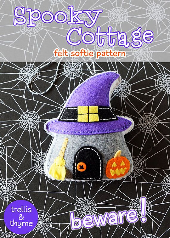 PDF modello - Cottage spettrale ornamento Pattern, Halloween feltro ornamento, Softie Sewing Pattern