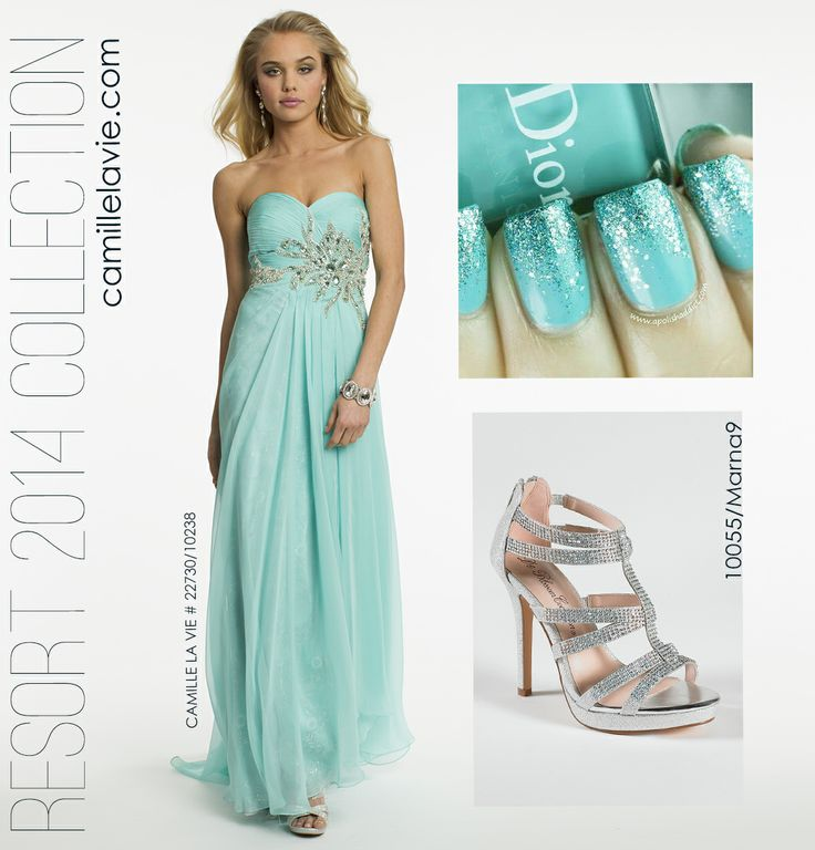 Chiffon and Lace Strapless Aqua Prom Dress by Camille La Vie