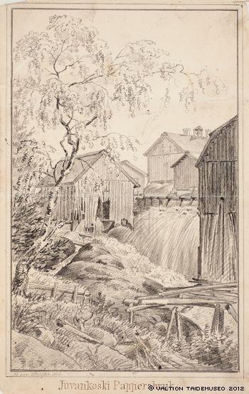 Magnus von Wright,   Juvankosken paperitehdas (Uskela, nyk. Pertteli) ; Kuvitusta teokseen Finland framställdt i teckningar, 1846