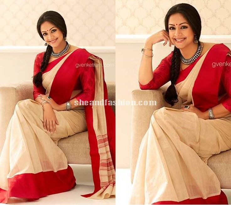 Jyothika in cotton saree and three fourth sleeve blouse