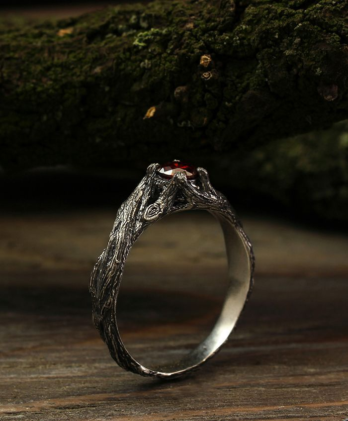 Braided Branch Engagement Ring With Garnet Unique Silver Twig