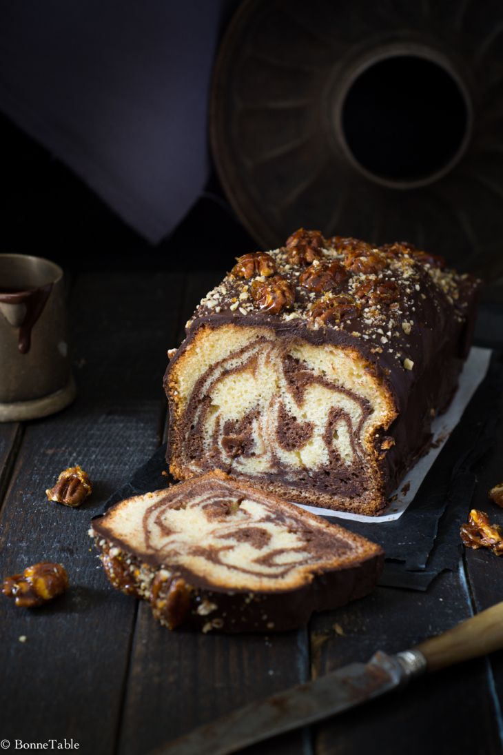 Marble Cake with Yoghurt, Chocolate Frosting, Caramelized Pecans