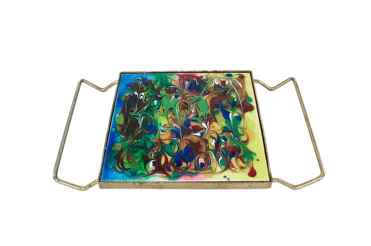 Vintage Retro Trivet-Mosaic Trivet-Brass Trivet-Mid Century Modern Trivet-Hot Plate-Farmhouse-Cottage Chic-Vintage Tableware-Retro Kitchen by HazelHuezDesign on Etsy
