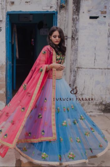 Embroided sea blue lehenga with a stunning duppatta