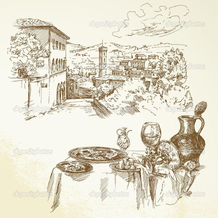 Toszkána, bor - kézzel rajzolt gyűjtemény - Stock Illustration: 22264199
