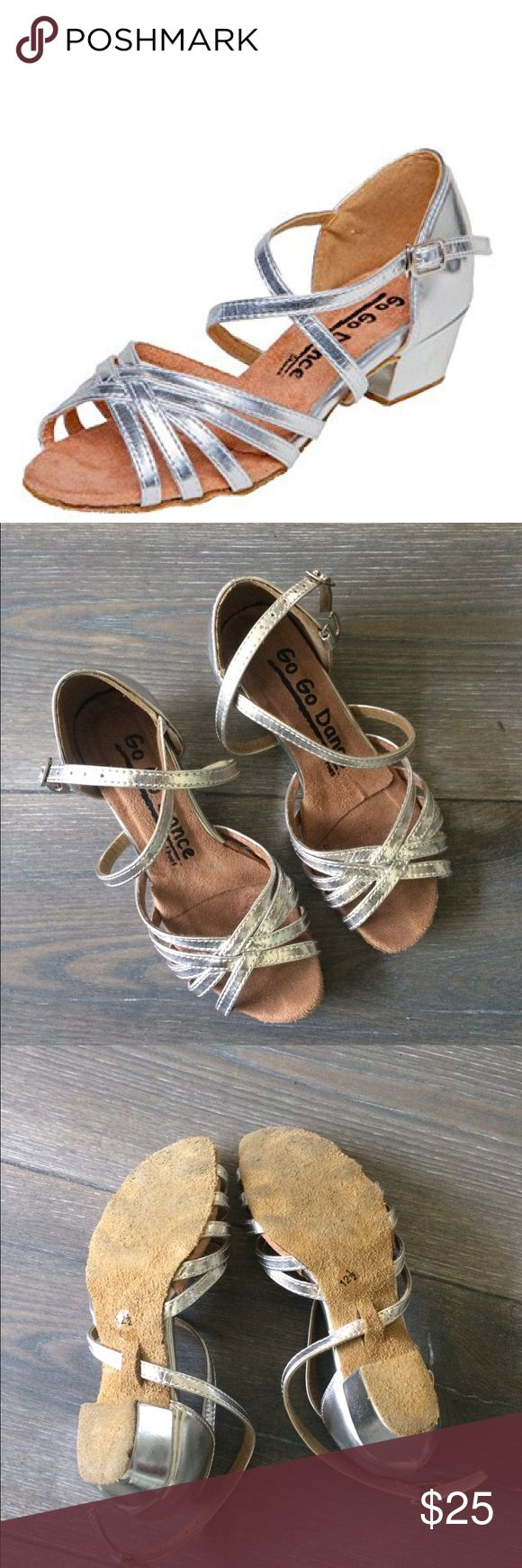 GoGo dance girl ballroom shoes size 12.5 GOGO Dance girl ballroom shoes size 12.5. Leather silver with suede sole. Ideal for practice dancing. GoGo Dance Shoes