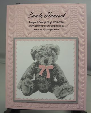 handmade baby card from Sandy Hancock ... triple stamp teddy bear in grays on a pink card ... luv the rounded texture look from the cable knit embossing folder ... Stampin' Up!