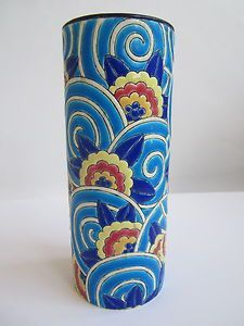 "inspiration, Art Deco Faience de Longwy hand painted enameled signed vase, 1919-1939. 8""X3"":"